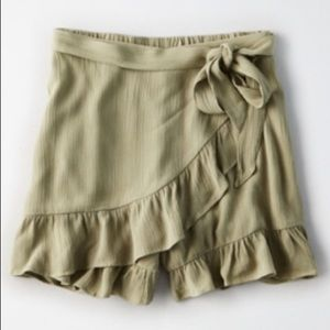 High-Waisted Ruffle Wrap Skort